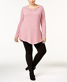 Plus Size Lace-Up V-Hem Tunic