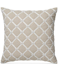 "Hotel Collection Diamond Embroidered 20"" Square Decorative Pillow"