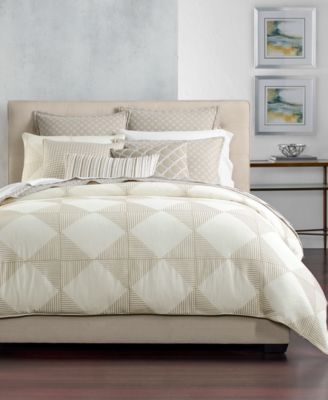 CLOSEOUT! Cotton Diamond Embroidered Full/Queen Duvet Cover, Created for Macy's