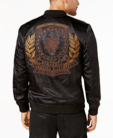 GUESS Men's Satin Zip-Front Jacket