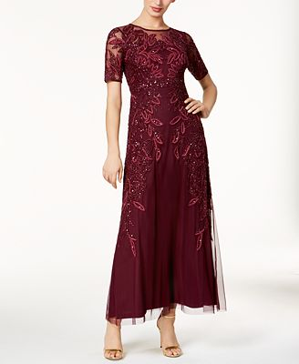 Adrianna Papell Petite Embellished Mesh Gown