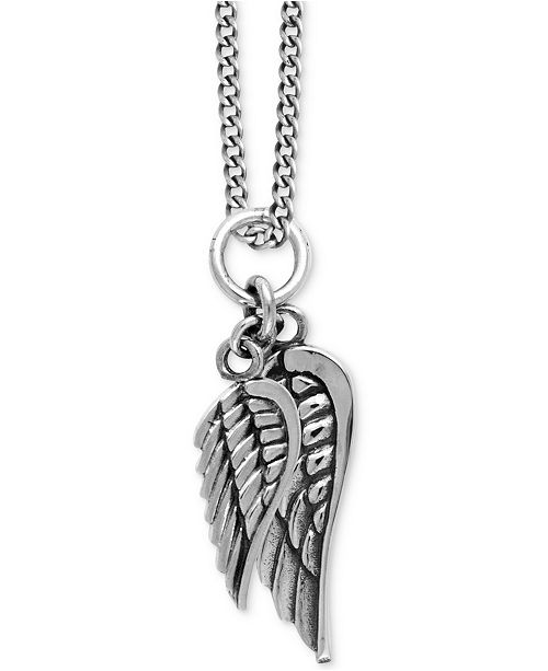 8d1b159814f14 Men's Double Wing Pendant Necklace in Sterling Silver