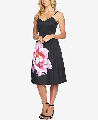 CeCe Floral-Print Fit & Flare Dress