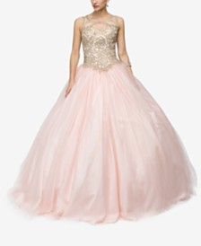 Dancing Queen Juniors' Embellished Appliqué Gown