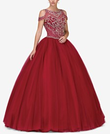 Dancing Queen Juniors' Embellished Cold-Shoulder Gown