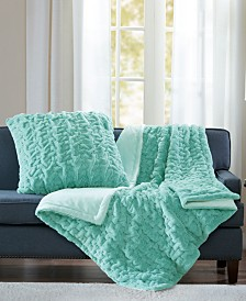 """Madison Park Reversible Ruched Faux-Fur 50"""" x 60"""" Throw"""