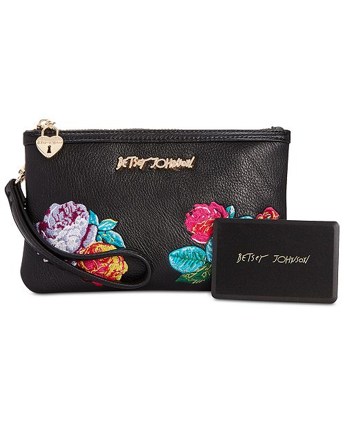 Macys Sell: Betsey Johnson Floral Embroidery Small Crossbody With