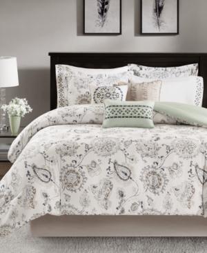Madison Park Bonnie 9Pc Cotton Reversible Queen Comforter Set Bedding