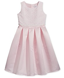 Lavender by Us Angels Lace-Bodice Satin Dress, Toddler Girls