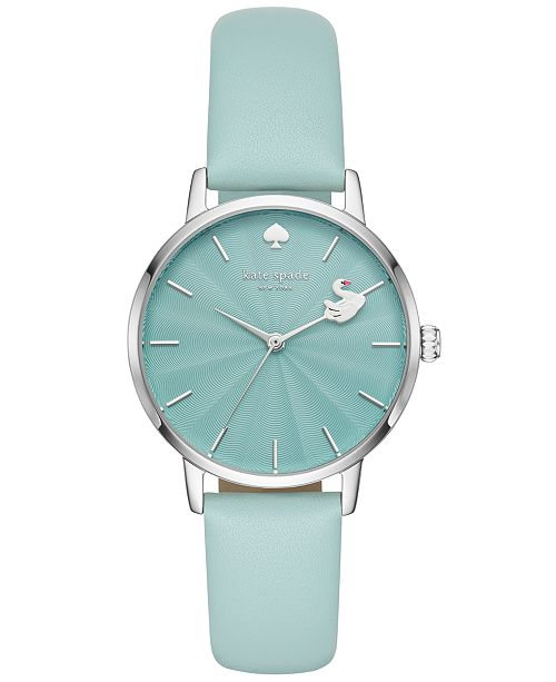 kate spade new york Women's Metro Blue Leather Strap Watch 34mm KSW1409