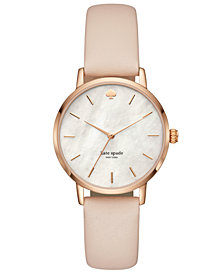 kate spade new york Women's Metro Vachetta Leather Strap Watch 34mm KSW1403