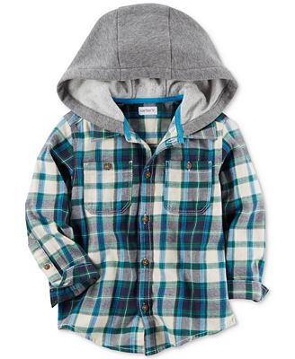 Carter's Plaid Cotton Flannel Hooded Shirt, Toddler Boys