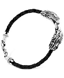 King Baby Men's Double Eagle Leather Bracelet in Sterling Silver