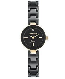 Anne Klein Women's Diamond-Accent Black Ceramic Bracelet Watch 24mm
