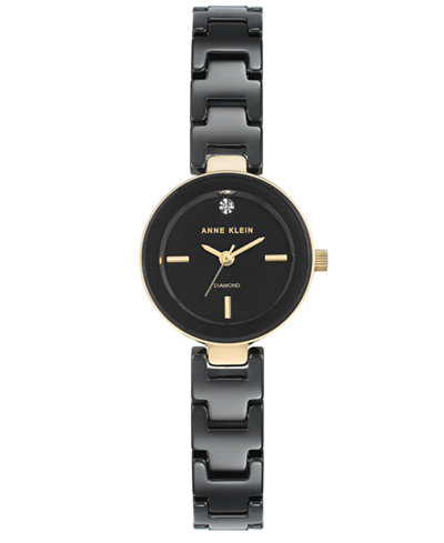 Anne Klein Women's Diamond-Accent Black Ceramic Bracelet Watch 24mm