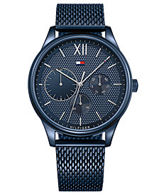Tommy Hilfiger Men's Blue Stainless Steel Mesh Bracelet Watch 44mm