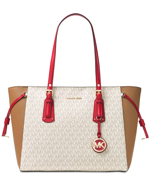 657204973a ... Michael Kors Signature Voyager Multi-Function Top Zip Medium Tote ...