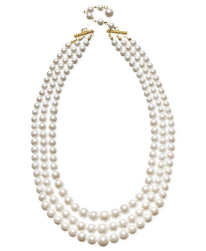 Charter Club - Three Row White Simulated Pearl (10 mm)
