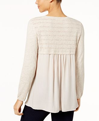 Style Macys Hthr For Natural Knit Amp Co Sweater Cotton Created