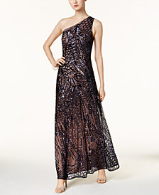 Nightway Sequined One-Shoulder Gown