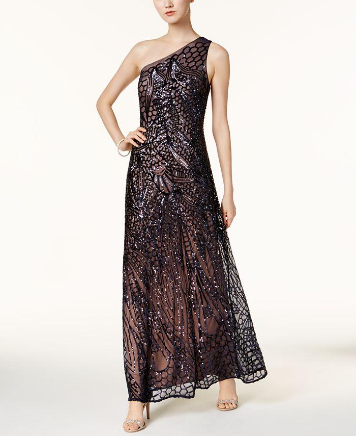 Nightway - Sequined One-Shoulder Gown