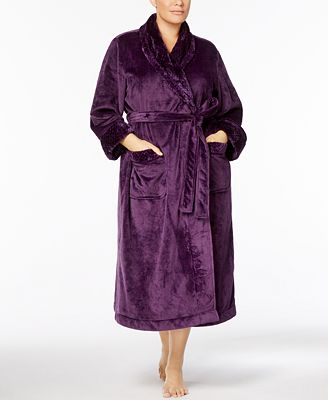 Charter Club Plus Size Textured-Trim Wrap Robe, Created for Macy's