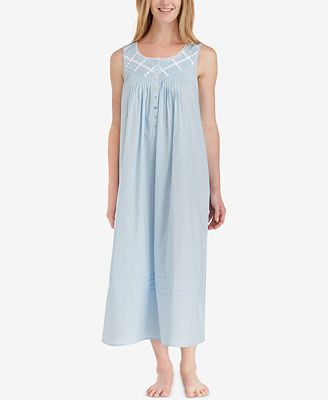 Eileen West Lace-Trimmed Cotton Ballet-Length Nightgown