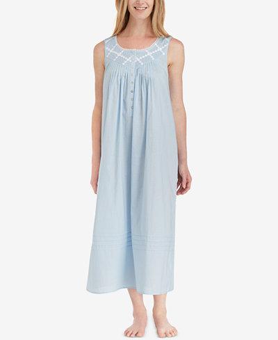 Eileen West Lace-Trimmed Cotton Ballet-Length Nightgown DjjkD