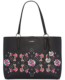 Calvin Klein Reese Floral Studded Extra-Large Tote