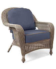 Sandy Cove Wicker Outdoor Club Chair: Custom Sunbrella®, Created for Macy's