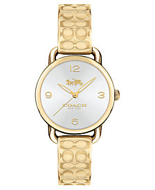 COACH Women's Delancey Gold-Tone Etched Bangle Bracelet Watch 28mm