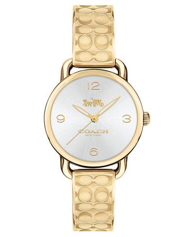 COACH Women's Delancey Gold-Tone Etched Bangle Bracelet Watch 28mm