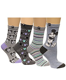 Women's 4-Pk. Assorted Mickey Mouse Crew Socks