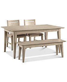CLOSEOUT! Kips Cove Dining Furniture, 4-Pc. Set (Dining Table, 2 Side Chairs & Bench)