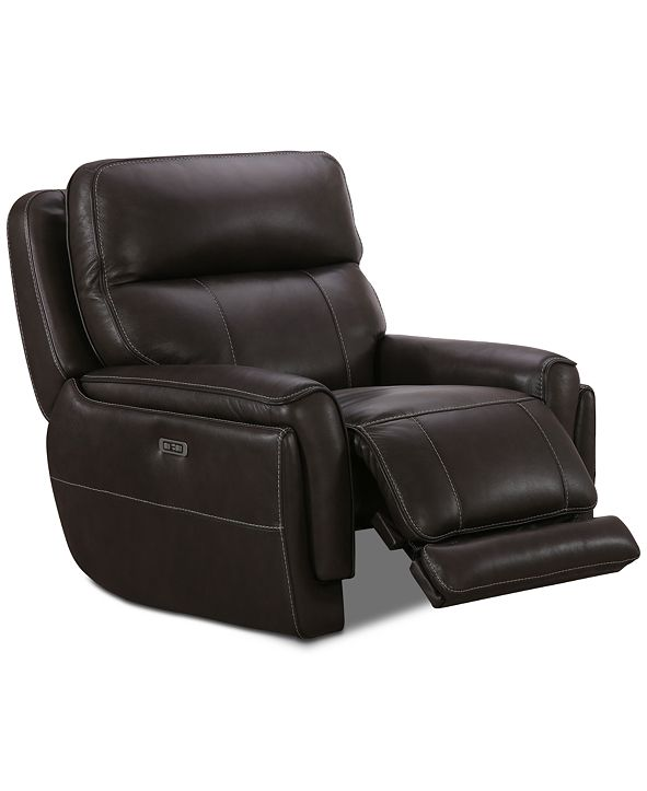 Furniture Summerbridge Leather Power Glider Recliner with Power Headrest and USB Power Outlet