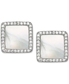 Giani Bernini Cubic Zirconia and Mother-of-Pearl Stud Earrings in Sterling Silver, Created for Macy's