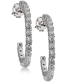 Giani Bernini Cubic Zirconia J-Hoop Earrings in Sterling Silver, Created for Macy's