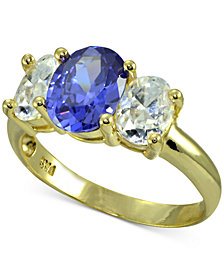 Giani Bernini Cubic Zirconia Three Stone Ring in 18k Gold-Plated Sterling Silver, Created for Macy's