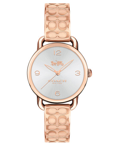 COACH Women's Delancey Rose Gold-Tone Etched Bangle Bracelet Watch 28mm