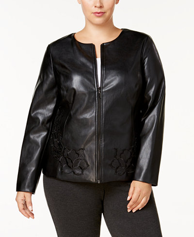 Alfani Plus Size Floral-Embroidered Faux-Leather Jacket, Created for Macy's