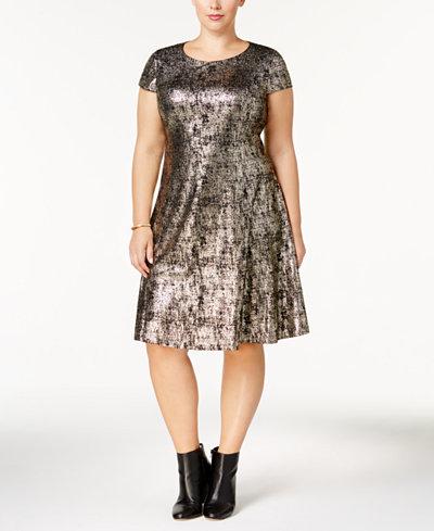 Alfani Plus Size Metallic-Print A-Line Dress, Created for Macy's