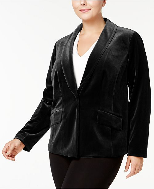 INC Plus Size Velvet Blazer, Created for Macy's