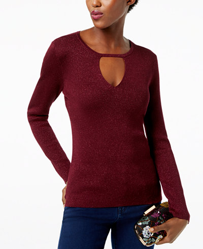 INC International Concepts Metallic Keyhole Cutout Sweater, Created for Macy's