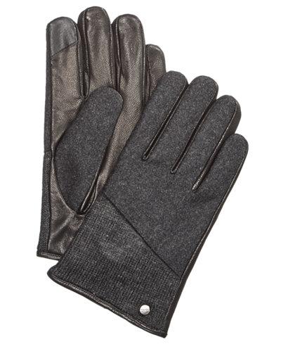 Calvin Klein Men's Mixed-Media Knit Gloves