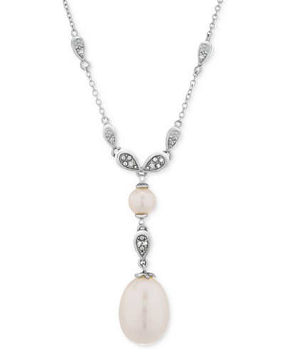 Cultured Freshwater Pearl (6 & 14mm) & Diamond Accent Lariat Necklace in Sterling Silver