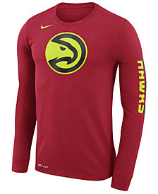 Nike Men's Atlanta Hawks Dri-FIT Cotton Logo Long Sleeve T-Shirt