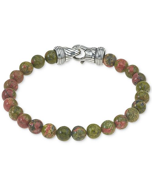 Esquire Men's Jewelry Unakite Bead Bracelet in Sterling Silver, Created for Macy's