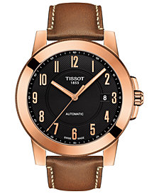 Tissot Men's Swiss Automatic Gentleman Swissmatic Brown Leather Strap Watch 44mm
