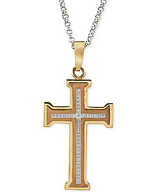 Men's Diamond Cross Pendant Necklace (1/5 ct. t.w.) in Gold Ion-Plated Stainless Steel