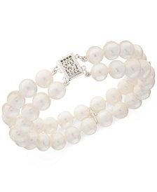 Cultured Freshwater Pearl (8mm) & White Topaz (1/2 ct. t.w.) Bracelet